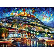 Handmade Modern impressionist Palette knife Landscape oil painting by Leonid Afremov, GREECE - LESBOS ISLAND