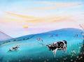 blue grass e mountain pintura a óleo