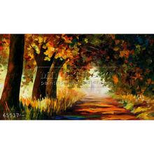 Handmade Modern impressionist Palette knife Landscape oil painting by Leonid Afremov, UNDER THE ARCH OF AUTUMN