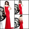 Sexy Fishtail Floor Length Spaghetti Straps V-neck Beaded Chiffon Formal Red Dresses Long Evening DE243