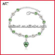 Buon servizio lucente cristallo perline braccialetto braccialetto della lega, custom braccialetto nero braccialetti di corallo