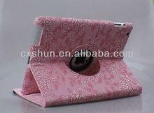 Flower design rotation leather case for ipad mini