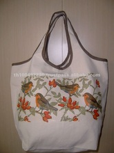 Print canvas bags with leather handle