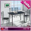 1202-17B wood top metal legs black dining table