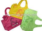 190T reusable foldable shopping bag/ pocket foldable tote shopping bag