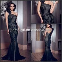 Fashion One-shoulder Appliqued Pleat Floor-length Overlay Organza and Satin Trumpet Black Sales Evening Dress