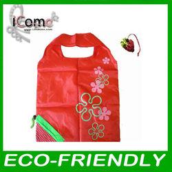 strawberry nylon foldable reusable shopping bag/Reusable bag/Reusable shopping bag