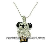 Crystal bear usb gift set,metal jewelry USB stick1GB-32GB