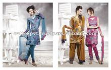Silk printed design salwar kameez 2012/2013