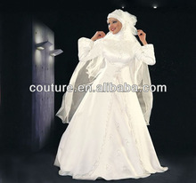 new arrival gorgeous floor lengh A line long sleeve with veil taffeta white ball gown TM801 muslim wedding dresses pictures