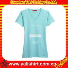 OEM stylish high quality v-neck short sleeve cotton casual women print t-shirt korea design