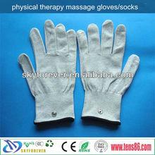 silvery fiber electrode massage gloves for head massage