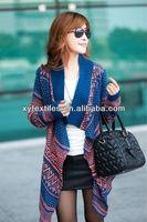2013 autumn winter fashion new large size loose knit cardigan retro ladies irregular shawl knit tops women sweaters