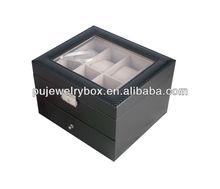 Black leather watch & jewelry storage case, multifunction gift box
