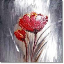 Modern aluminum art painting-red flower painting