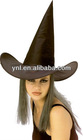 BLACK WITCHES HAT WITH ATTACHED GREY HAIR