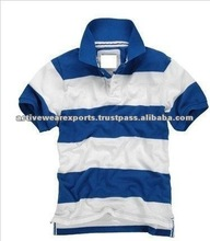 Men's Short Sleeve Yarn Dyed Stripe New Design Polo Shirts