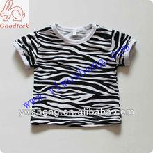 Fashion blank short sleeve zebra baby t shirt for girls