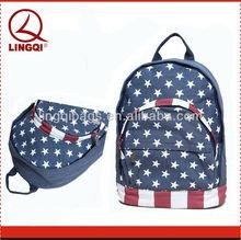 Unique Double Zipper American Flag Decorative Canvas Backpack Bag