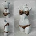 Leopardo- imprimir bandeau bikini top& baja- inferior lugar de trajes de baño