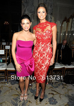 2012 Sexy Nude Stacy Keibler Cap Sleeve High Neck Knee Length Red Lace Short Prom Dresses Celebrity Evening Dresses