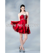 CW254 Free shipping Adorable red sweetheart beaded asymmetric cocktail party dresses short evening dress 2013