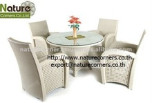 Outdoor Rattan Dining Round Table and Chair Set