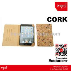 Auto sleep and wake up cork fabric smart design for ipad mini case