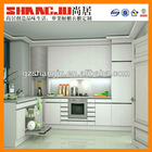 L shape shallow kitchen cabinet with long worktop