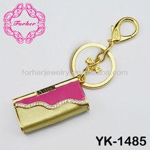 Bling Bling suitcase handbag keyring key chain rhinestone charm zinc alloy keychain YK-1485