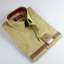 2015 fashion short sleeve plain men's 100% cotton shirt