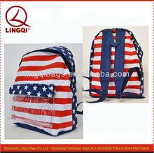 Trendy USA Flag White Striped Print Blue Backpack
