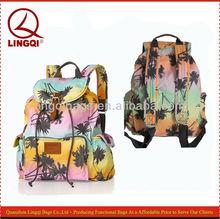 Fresh Pink Hawaiian Neon Tropical Island palm tree print drawstring cotton canvas backpacks