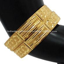 Party Wear Gold Plated BIndian Gold Plated Bangle/Kada Set Bollywood Wedding Tangle Churi Set Bollywood Wedding Bracelet Jewelry