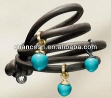 Leather bracelet wristbands chinese kong fu leather bracelet red coral mix leather wrapped bracelet