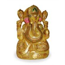 Painted lord ganesh, yellow aventurine 24k gold painted ganesh as wedding gift, corporate gift ganesh statues