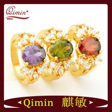 gold brazil diamond genuine opal & emerald ring
