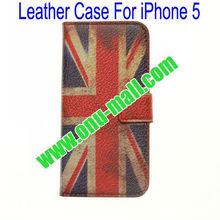 Retro UK Flag Leather Case for iPhone 5