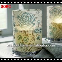 Spring pattern decal pillar candleholders glass