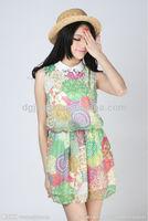 doll collar flower printing chiffon cut dress