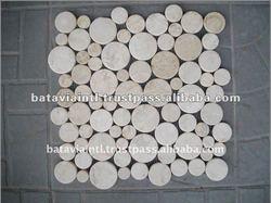 Best Cut Slices Round Tile Interlocking White Marble