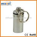Liga de alumínio caixa impermeável hermético stash fob pílula titular chaveiro- cor prata