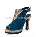 glitter ouro azul camurça salto alto mulheres slingback sapatos de senhora