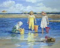 Hot selling most beautiful handmade beach children playing oil painting