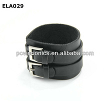 Leather wrist band double buckle leather bracelet