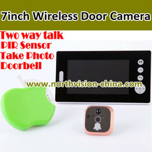 Hottest 2.4G wireless lcd door viewer, 7 Inch touch screen, motion detection