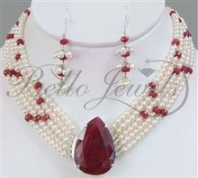 5 Strand Pearl & Ruby Beaded Choker Style Necklace