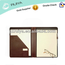 Deluxe Leather Notepad Holder with a Pen Holder Writing Pad Cover Notepade Case with Zip Around Closure For Men and Women