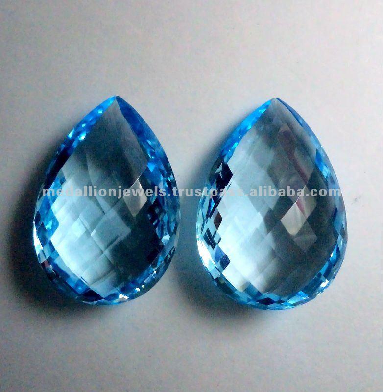 sky blue topaz pear shape checkerboard facet cut