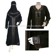 MUSLIM BLACK ABAYA ISLAMIC DRESS EMBROIDERY WORK WOMEN CLOTHING NIQAB